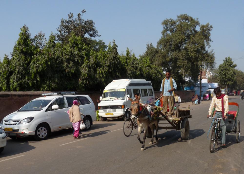 Agrában csacsi-fogat és egyéb közlekedési eszközök