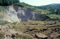 Csuszamlás sóbányaüreg körül (Dés, Románia)