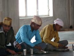 Agra Szikh-templomban étkezők
