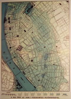 Árvíz (1938, Budapest, belváros térképén)